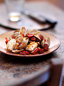 Spanish clams with chorizo, garlic and chilli