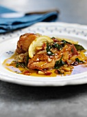 Lemon chicken with ginger and pine nuts