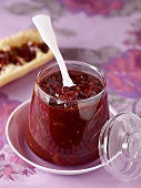 A jar of pear and chocolate jam