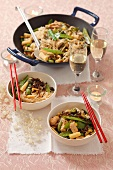 Fried noodles with chicken and vegetables for Christmas