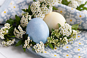 Easter eggs with spiraea