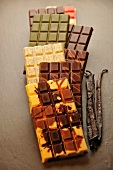 Various bars of chocolate and vanilla pods