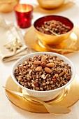 Kutia (Polish Christmas dessert made with barley, poppy seeds, almonds, nuts and raisins)