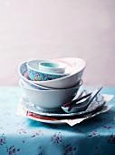 A stack of porcelain bowls