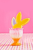A Easter bunny shape in an egg cup