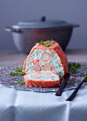 Fish and parsley terrine wrapped in smoked salmon