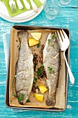 Stuffed trout with buckwheat and herbs