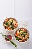 Asian noodle with prawns and omelette strips