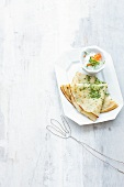 Crepes with cress and herb quark