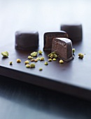 Chocolate pralines with pistachios