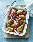 Oven-roasted chicken with rhubarb and herbs