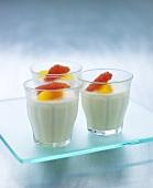 Buttermilk desserts with citrus fruits