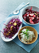 Celeriac salad, red cabbage salad and radicchio with beetroot and apples