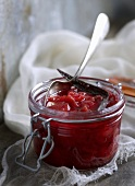 A jar of red plum jam