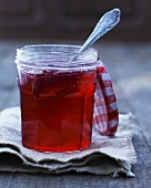 A jar of raspberry jelly