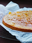 Sponge cake with an apricot glaze