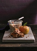 Goose rillette on bread with a baked apple