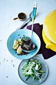 Beef goulash with chard and parmesan salad