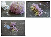 A decorative table ribbon being made from allium flowers