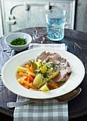 Steirisches Wurzelfleisch (Austrian dish made with meat, root vegetables and horseradish)