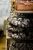 Rye malt bread in an old-fashioned bakery