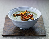 Creamy soup with vegetable chips