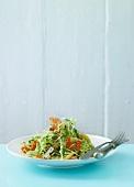 A summer vegetable salad with prawns (Scandinavia)