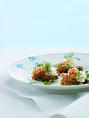 Salmon tartar with dill and quark