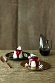 White chocolate parfait with red wine sauce