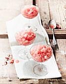 Watermelon granita in dessert bowls
