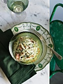 Pasta with salmon and a herb and cream sauce