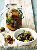 Olive sott'olio (Pickled olives with herbs, Italy)