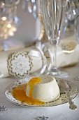 Panna cotta with clementine sauce for Christmas