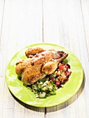 Stuffed chicken with goat cheese and summer vegetables
