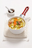 Savoy cabbage and potato soup with pancetta