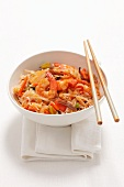 Basmati rice with king prawns and mushrooms (China)