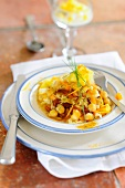 Sauerkraut and chickpea stew with pineapples and dried apricots