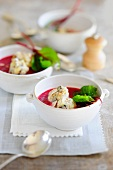 Beetroot soup with plum and polenta dumplings