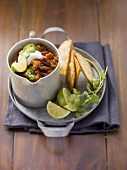 Chilli con carne in a metal cup