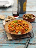 Paella with chicken and prawns