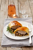 Pork fillet in puff pastry with mushrooms