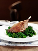 Gressingham duck leg with kale