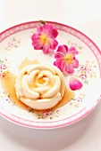 Rose-shaped panna cotta with rose syrup