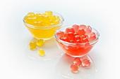 Coloured cornflour balls for bubble tea