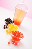 Coloured balls of cornflour and bubble tea