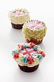Three cupcakes decorated with Union Jacks