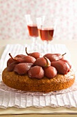 Pear cake with red wine pears