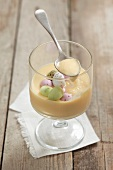 White chocolate cream with sugar eggs