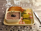 Liver pâté with truffles, bread and pickles (Christmas)