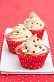 Cupcakes decorated with sugar beads